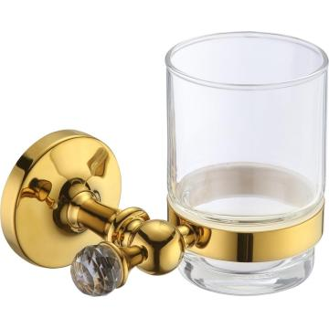 Home Use Bathroom Glass Cup Holder Golden