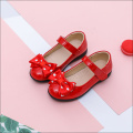 Girls Red Closed Toe Bowknot Leather Shoes