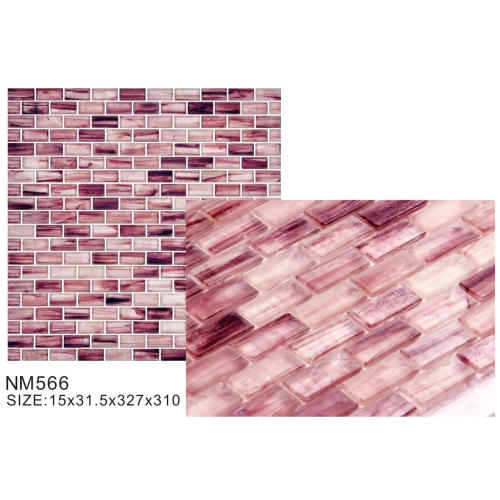 Lovely pink elegant molten glass mosaic tiles