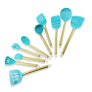 10PCS Gold Plated Handle Cooking Silicone Utensils Set
