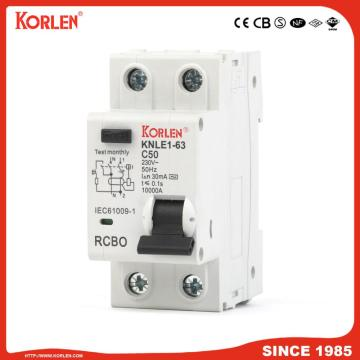 Residual Current Circuit Breaker RCBO KNLE1-63 CE 1P