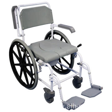 "Shower Commode Chair with 24"" Real Wheels"