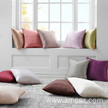Solid Color Satin Silk Pillowcase Cushion Cover