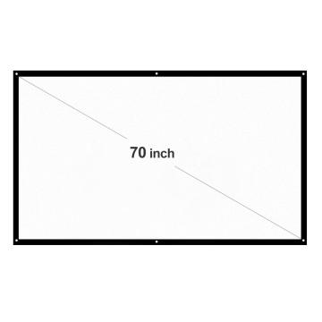 H70 70'' Portable Projector Screen HD 16:9 White Dacron 70