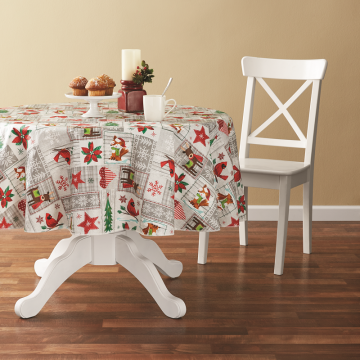 Tablecloth PE with Needle-punched Cotton Cute Animals Round