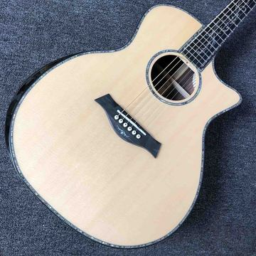 Handmade 40'' Cutway Solid Top Acoustic Guitar Bone Nut Saddles Abalone Inlay Ebony Fingerboard SPECIAL PRICE