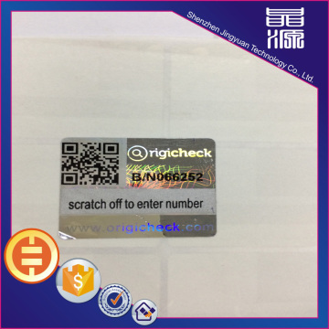 Scratch Off Laser Digital Hologram Security Label
