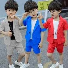 Toddler Boys Suit Summer Wedding Cotton Linen Blend Formal Boys Blazer Children Suit Fortnight Party Short Sleeve Petite Suits