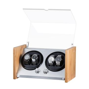 Bamboo Watch Winder Box With Quiet Motor