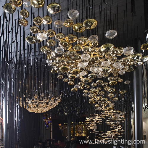 Hotel lobby glass led gold metal pendant chandelie