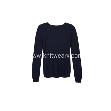 Women's Knitted Boat-Neck Textured Pointelle Pullover