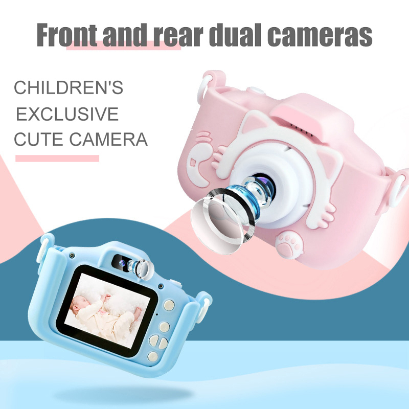 New HD 1080P Dual Digital Camera For Children Kids Camera With Cartoon Case Children's Camera Birthday Christmas Gift for Kids