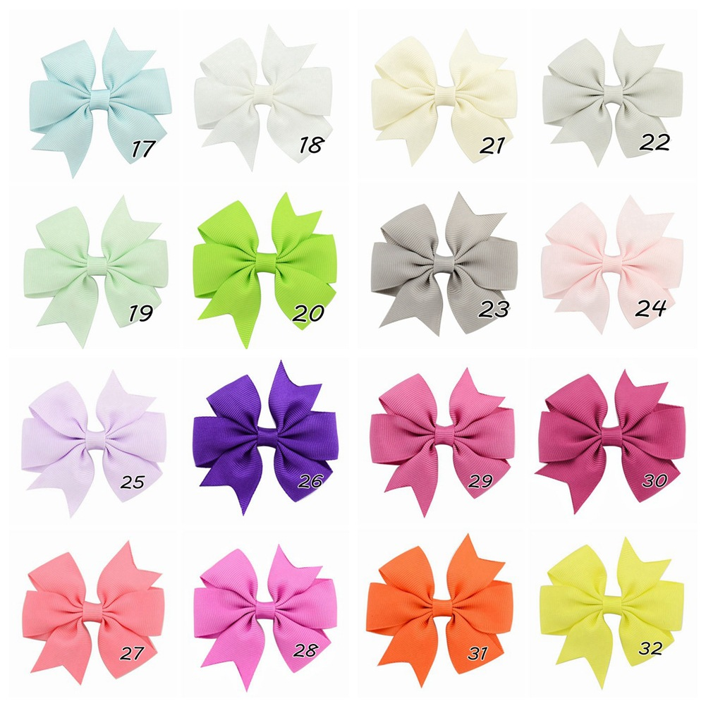 Plain ribbed ribbon fish-tail bow hair clip (6)