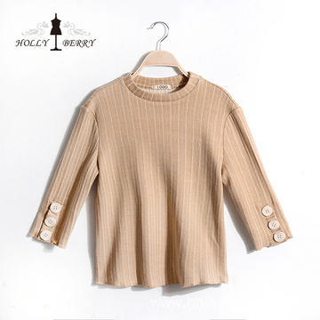 Blouse Femme New Arrival Cotton Stripe Champagne Color Three Quarter Sleeve