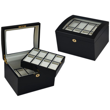 Black Wood Double-deck Watch Box