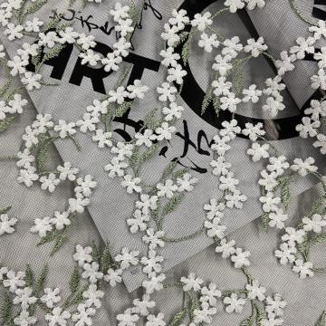 Brisk Flower Embroidery On Nylon Mesh Fabric