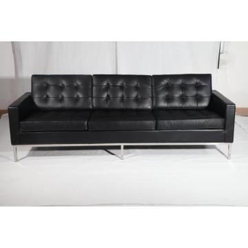 Black Leather Florence Knoll 3 Seater Sofa Replica