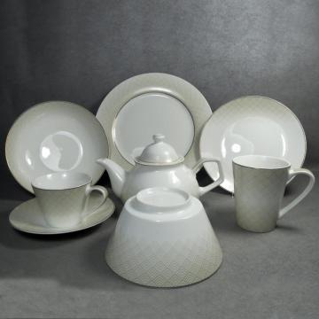 Porcelain Dinnerware Set w/Gold Rim