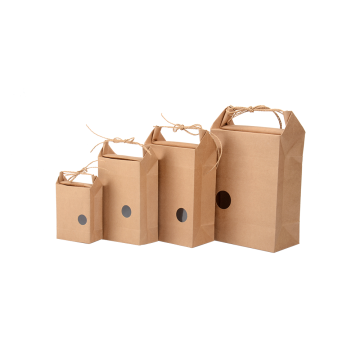 Kraft Paper Drawstring Handle Flat Folding Gift Box