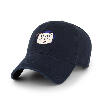 unisex navy blue dad hat with embroidered logo