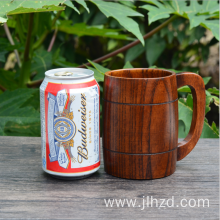 Handmade wine drinking cup wood handle beer mug
