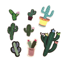 Embroidered cactus succulent plant hot cloth paste fashion