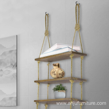 Rustic Rope Hanging Wall Shelf