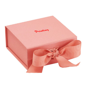 Rigid box packaging with grossgrain ribbon