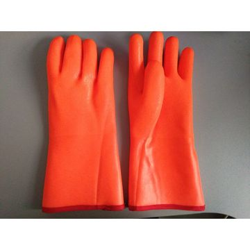 Fluorecent Anti-Cold PVC coated gloves sandy finish 14""