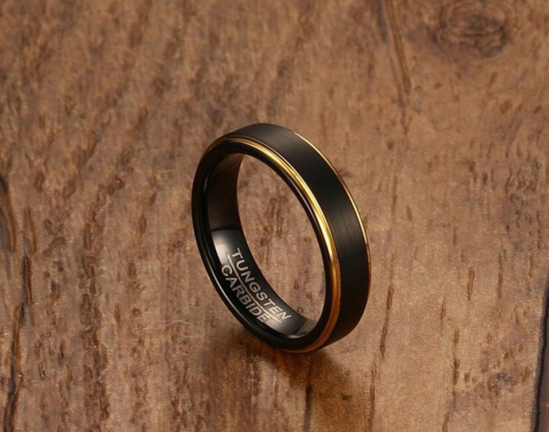 black and gold tungsten carbide ring