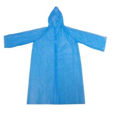 Blue Waterproof PE Disposable Raincoat
