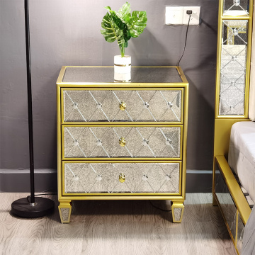 golden painting antique mirror 3 drawer bedside
