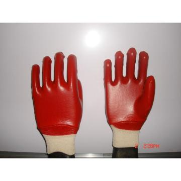 Red PVC Fully Coated Gloves with Smooth Finish