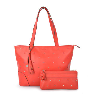 Lady Leather 2 Sets Shoulder Bag With Rivets