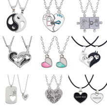 I Love You Best Friends Couple Necklace Jewelry Puzzle BFF Key Lock Tai Chi Heart Pendants Necklaces For Women Men Gift Collier