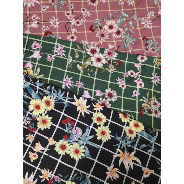 Check Flower Rayon Challis 30S Air-jet Printing Fabric