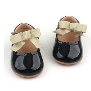Soft Mirror Leather Baby Toddler Shoes with Bow