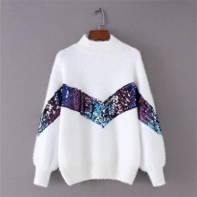 2020 New Women's Sweater Autumn And Winter New Fashion Half-high Collar Mohair Embroidery Sequins Lantern Sleeve Sweater