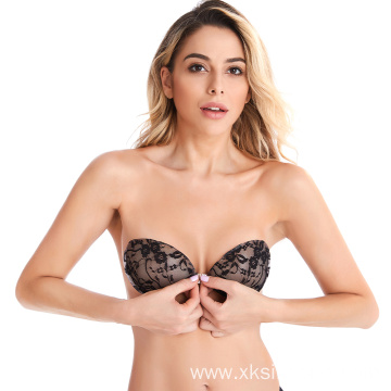 Hot black sexy adhesive invisible backless lace bra