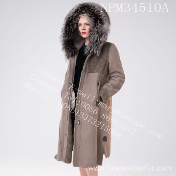 Merino Shearling Coat Hooded In Winter For Lady