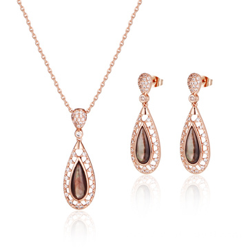 Rose Gold Plated Black MOP Jewelry Set