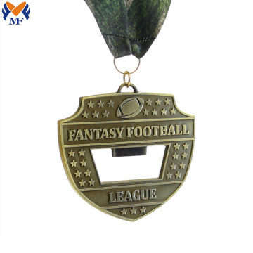 Custom metal football medals with opener