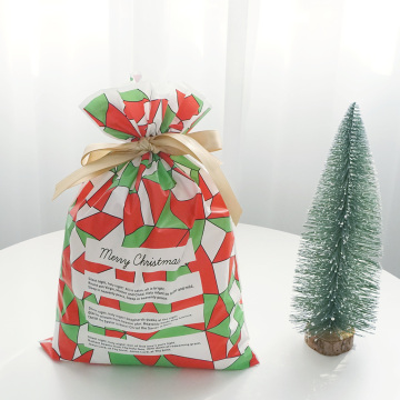 Green Red Christmas Plastic Soft Gift Packing Bag