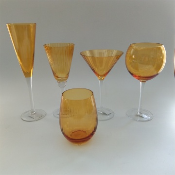 Amber color ribbed glass drinkwares set whosale