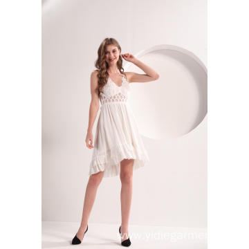 Women's White Camisole Lace Dress