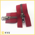 Top and bottom puller old silver metal zipper