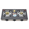 3 Burners Glass Top Gas Stove With Flower