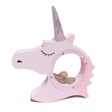 Wooden Unicorn Piggy Bank Money Coin Box