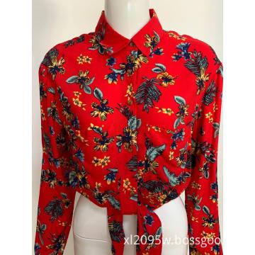 Women's long sleeve print waist shirt