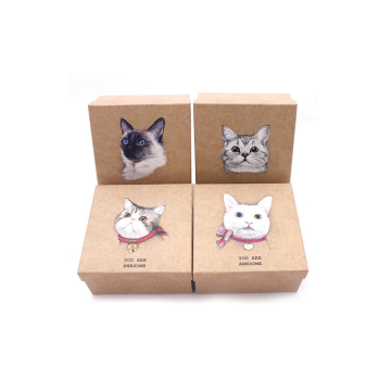 Retail Customized Cat Logo Brown Paper Gift Box
